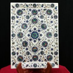 9 X 12 Marble Plate Semi Precious Stones Marquetry Floral Inlay Decorative