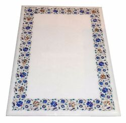 52 X 30 Marble Semi Precious Stone Floral Inlay Dining Table Top Handmade Work