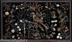 48 X 32 Black Marble Dining Table Top Marquetry Inlay Mosaic Arts Decorative