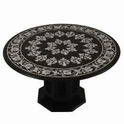 36 Marble Dining Center Table Top Semi Precious Stone Inlay With Marble Stand