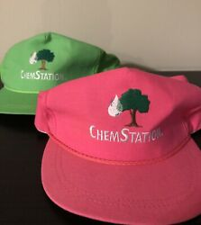 Lot Of 2 Vintage Chemstation Factory Science Chemistry Neon Rope Band Hat Cap