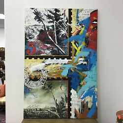 Large Abstract Oil On Canvas Cuban Artist Signed