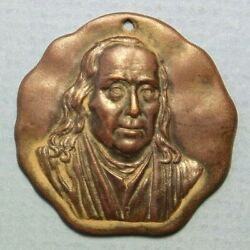 Picture Of Ben Franklin Founder Of Saturday Evening Post Award Brass 33mm Medal