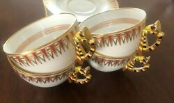 4 Vintage Richard Ginori Porcelain Cups And Saucers Khedive Pattern Italy Doccia