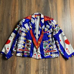 Vintage Silkworms Designer Couture Playing Cards Poker Button Silk Jacket