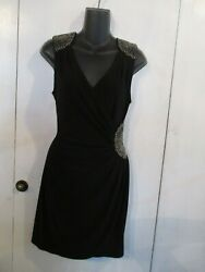 BLACK EVENING DRESS WITH BEADING ACCENT SIZE 5 6 BY B.DARLIN POLY SPANDEX BLEND $6.00