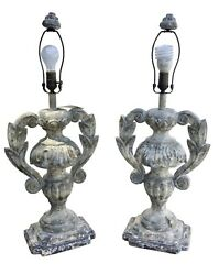 Large Pair Carved Distressed Wood Italian Urn Table Lamps