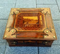 Antique Wooden Box With Landscape Picture Inlay