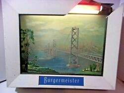 Burgermeister Beer Brewery Animated Moving Lighted Day Nite Diarama Rare Sign