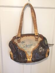 Sharif Handbags New With Tags Hand Painted Gold Snake Leather