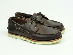 Handed Menand039s Mocasin Brown Leather Casual Boat Shoe Size 7