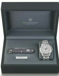 New Victorinox 241554.1 Chronograph Silver-tone Watch Set With Swiss Army Knife