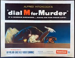Dial M For Murder 1954 Original Movie Poster Half Sheet Paper Backed 22x28
