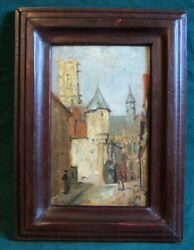 19thc European Oil Painting On Board Village Street W Figures Signed Maguire Lr