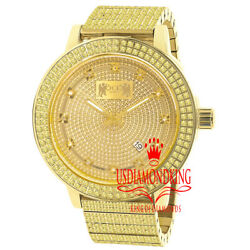 Mens Real Diamond Dial Full Stainless Steel 18k Canary Gold Watch 54mm W/date
