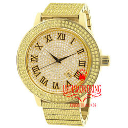 Canary Gold Roman Face Full Stainless Steel Simulated Diamond Mens Watch W/date