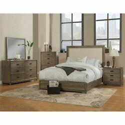 Alpine Furniture Camilla Queen Wood Panel Bed In Antique Gray