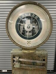 Working Condition Antique Toledo Industrial Scale. Kg And Lbs. Rolls On Wheels.