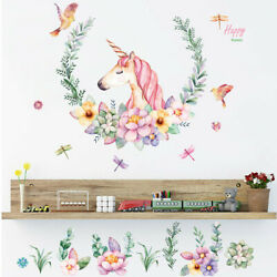 Unicorn Wall Decal Home Decor Animal Flower Sticker Removable Kids Bedroom US