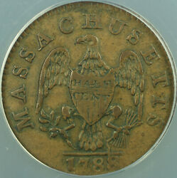 1788 Massachusetts 1/2 Half Cent Colonial Copper Coin Anacs Vf-35 Better Coin