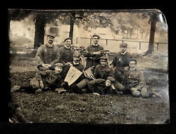 Super Rare 1/2 Plate Tintype 1908 Bicycle Team And Banner + 46 Star American Flag