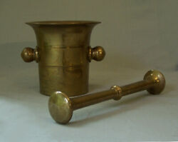 Early English 19th Century Solid Bell Metal Brass Apothecary Mortar Pestle C1800