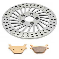 11.5and039and039 Polished Rear Brake Disc Rotor Pads For Harley Xlh Fxdwg Flstf 90-99