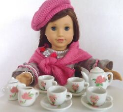 Tea Party for American Girl Doll 18quot; Accessories Fit Pink Flower Porcelain SET $9.99