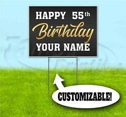 Happy Birthday Custom Age And Name 18x24 Yard Sign With Stake Corrugated 55th