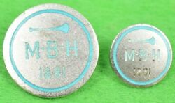 Meadow Brook Hunt M-b-h 1881 Sterling Hunt Club Buttons