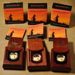 2008 2009 And 2010 Australian Kangaroo At Sunset 25 Gold Coins In Ogp