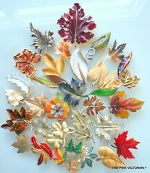 Lot Of 35 Vintage To Now Leaf Pins,brooches,natural,weiss,trifari,liz Claiborne