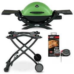 Weber Q Propane Gas Grill Burner Portable Camping Rolling Outdoor Cooking Bbq