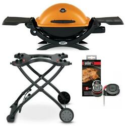 Weber Propane Gas Grill Q 1200 Burner Portable Rolling Cart Barbecue Cooking Bbq