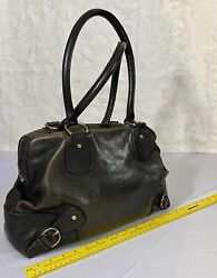 BANANA REPUBLIC Brown Cow Leather Satchel Purse Handbag EUC $34.89