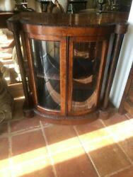Antique English Burr Walnut Bow Front Display Cabinet