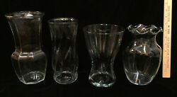 Vases Clear Glass Lot 4 Various Flower Floral Large Size Brody Glassware