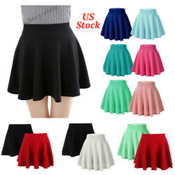 Women A-Line Pleated Stretchy Flared Skater Skirt Ladies Party Mini Dress Summer
