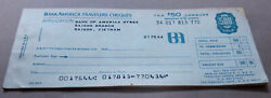 1970 Bank Of America Unused Travelers Cheques Saigon Branch Booklet Of 10 X 50