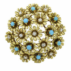 Turquoise Diamond Flowers Brooch In 18k Yellow Gold