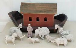 Large Antique Folk Art Carved Wood Noah's Ark With Chalkware With 11 Pcs Figures