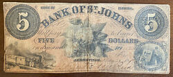 18x9 Bank Of St. Johns State Of Florida 5 Obsolete Currency Repaired