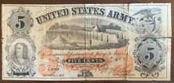 United States Army Sutler Civil War Five Cents 5¢ Obsolete Note