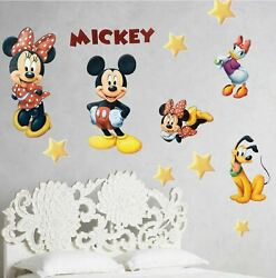 34Piece Mickey Minnie Mouse Removable Sticker Wall Decals for Boys amp; Girls Rooms