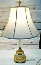 Vintage Pair Of Brass And Clear Bubble Glass Table Lamps Mcm Set Of 2