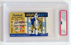Roger Staubach Signed And Insc 1962 Army / Navy Ticket Psa Encapsulated Graded 10