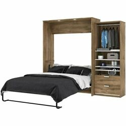 Bestar Cielo Premium 2 Piece Queen Wall Bed In Rustic Brown And White