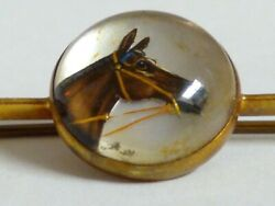 14k Yellow Gold Vintage Glass Button/rosette Horse Bridle Bar Pin.