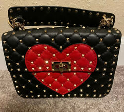 Valentino Rockstud Heart Bag Black And Red Leather, Gold Studs