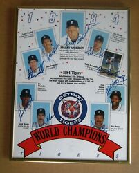 1984 World Series Detroit Tigers Photo Signed By 9 Trammell, Whitaker, Parrish